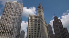 time lapse shadows - Chicago. Wrigley building and Tribune tower - stock footage