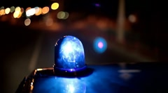 Blue emergency light of  police car Stock Footage