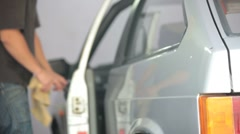 Polishing car Stock Footage