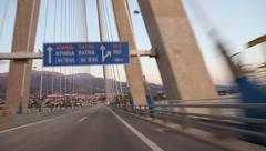 Rio-Andirrio-bridge in Greece or Charilaos-Trikoupis-bridge Stock Footage