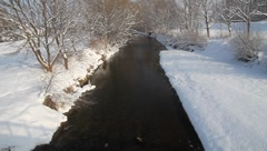 River in winter in Lower Austria (Leitha) Stock Footage