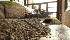 Scale Model  Train passing bridge Stock Footage