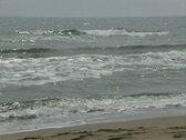 Pan from waves to quiet beach Stock Footage