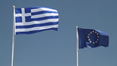 Flags Greece and EU Stock Footage