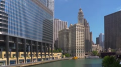 Downtown Chicago.  Trump tower and Wrigley building Stock Footage