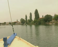View of river from front of moving boat Stock Footage