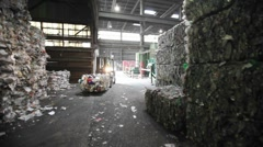 Aluminum cans are recycled at a center. Stock Footage