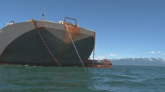 Fuel Barge from Rocking Boat 1 Stock Footage