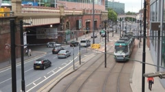 Manchester Tram Light Rail Piccadilly Station UK Stock Footage