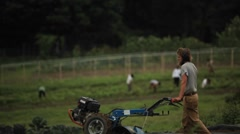 A man pushes a piece of farm equipment in an agricultural field. - stock footage