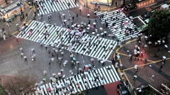 Stock Video Footage of Japan, Tokyo, Shibuya, Shibuya Crossing - commuters on the famous crosswalks