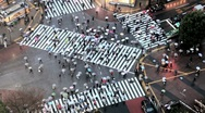 Stock Video Footage of Japan, Tokyo, Shibuya, Shibuya Crossing - commuters on the famous crosswalks