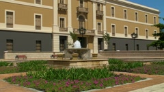 Fountain + plaza at 19th century Spanish garrison Stock Footage
