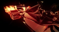 Fire race car 2cc Stock Footage