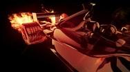 Stock Video Footage of Fire race car 2cc