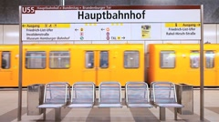 Europe, Germany, Berlin, modern futuristic style central subway station Stock Footage