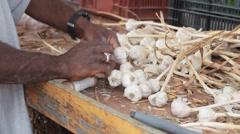 Ethnic Garlic Farmer Ties Bulbs Into Garlic Braids For Sale Stock Footage