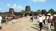 Stone causeway leading to the temple of Angkor Wat, Angkor, Siem Reap, Cambodia Stock Footage