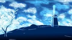 God's Mills - Windmill On Sky Background (HD) Stock Footage