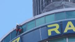 Window Cleaner St. John's Beacon (Radio City Tower) Liverpool UK Stock Footage