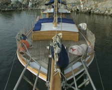 Pan up from boat deck to mast - stock footage