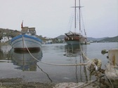 Close up of mooring and moored boats Stock Footage