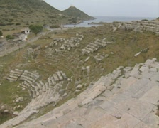 Pan across from top of amphitheatre Stock Footage