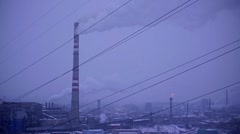 Snow-covered industrial city 001 Stock Footage
