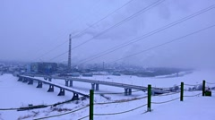 snow-covered industrial city 002 - stock footage