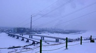 Stock Video Footage of snow-covered industrial city 002