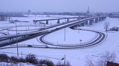 Snow-covered industrial city 008 Stock Footage