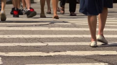 Chicago street scene, pedestrian crossing close up with feet Stock Footage
