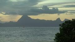 Tahiti Timelapse: Sky, Mountain, Ocean- day to night Stock Footage