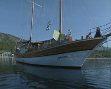 Close up view of front, side and rear of moored gulet Stock Footage
