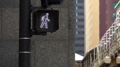 Pedestrian crossing sign in Chicago Illinois - 2 Stock Footage