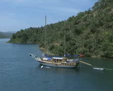View of gulet moored in bay Stock Footage