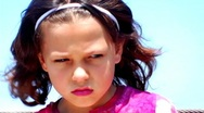 Little Girl Looking Angry And Depressed CU Stock Footage