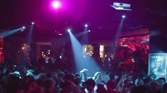 Night club barcelona lasers audience Stock Footage