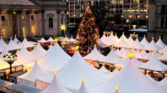 Traditional Christmas Market at Gendarmenmarkt, Berlin, Germany Stock Footage