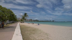 EWS Ala Moana Beach Park, ZOOM to MCU of Diamond Head, Waikiki Stock Footage