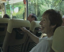 People on moving coach Stock Footage