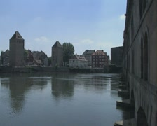View of city across river Stock Footage
