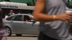 Chicago street scene, anonymous pedestrians crossing State Street with traffic. Stock Footage
