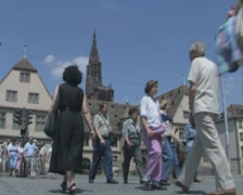 Ground level view of passing tourists Stock Footage