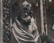 Close up of statues carved into cathedral Footage