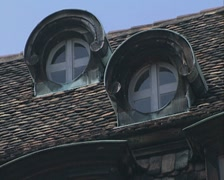 Round windows in roof Stock Footage