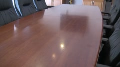 Board Room Flat Screen TV Table and Chairs Stock Footage