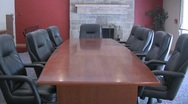Stock Video Footage of Corporate Office Board Room Table and Chairs