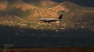 Jet Airline Comes in for a Landing in Salt Lake Airport Stock Footage