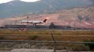 Jet Landing at the salt lake airport Stock Footage